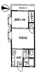 神奈川県横浜市中区仲尾台の賃貸アパートの間取り