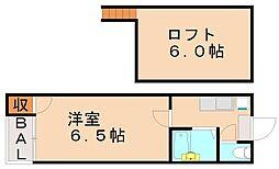 福岡県福岡市城南区茶山4丁目の賃貸アパートの間取り