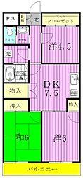 埼玉県三郷市戸ケ崎2丁目の賃貸マンションの間取り