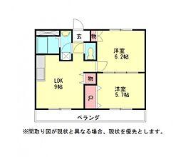 愛知県江南市赤童子町福住の賃貸アパートの間取り