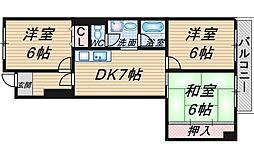 ベルヴュー赤阪[405号室]の間取り