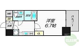 アドバンス新大阪ラシュレ 9階1Kの間取り