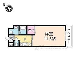阪急京都本線 桂駅 徒歩24分の賃貸マンション 4階1Kの間取り