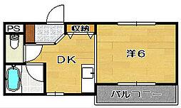 大阪府茨木市天王2丁目の賃貸マンションの間取り