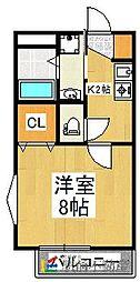 カーサ弐番館[1階]の間取り
