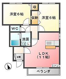 グリーン・リーフ熊倉E[1階]の間取り