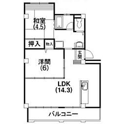 静岡県浜松市中区富塚町の賃貸マンションの間取り