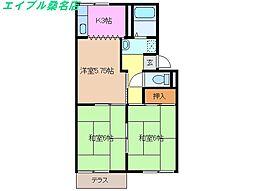 三重県桑名市東正和台3丁目の賃貸アパートの間取り