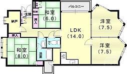 山芦屋邸 1階4SLDKの間取り