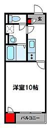 クレイノラルーチェ飯塚 2階1Kの間取り
