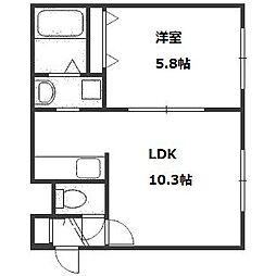 北海道札幌市中央区南二十四条西8丁目の賃貸アパートの間取り