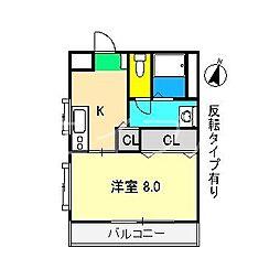 S.コート南元町[4階]の間取り
