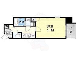 JR東西線 大阪天満宮駅 徒歩3分の賃貸マンション 11階1Kの間取り