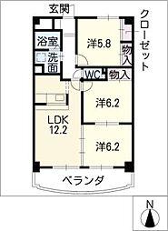 コンフォート中央[6階]の間取り