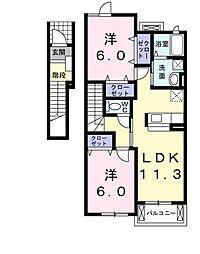 カーヤ・サミーC[2階]の間取り