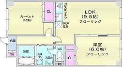 仙台市地下鉄東西線 青葉通一番町駅 徒歩7分の賃貸マンション 6階2LDKの間取り