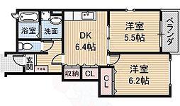 南海高野線 萩原天神駅 徒歩17分の賃貸アパート 1階2DKの間取り