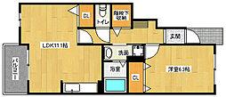 京都府京都市西京区桂清水町の賃貸アパートの間取り