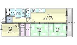 北大阪急行電鉄 桃山台駅 徒歩25分の賃貸マンション 5階3LDKの間取り