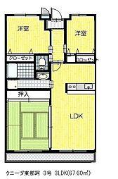 クニーヅ東那珂[303号室]の間取り