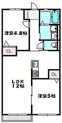 大阪府守口市藤田町3丁目の賃貸アパートの間取り