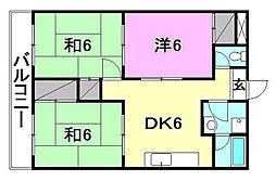 松山西ハイツ[706 号室号室]の間取り