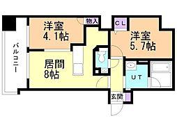 ラ・クラッセ札幌大通ウエスト 2階2LDKの間取り