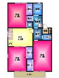 セジュールオサダ3号館[2階]の間取り