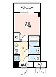S-RESIDENCE新大阪Garden 6階1Kの間取り