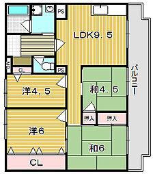 尾勝山ハイツ[3階]の間取り