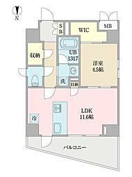 EIRAKU apartment 7階1LDKの間取り