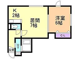 レユシール弐番館 1階1DKの間取り