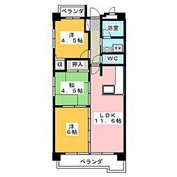 横山マンション[3階]の間取り