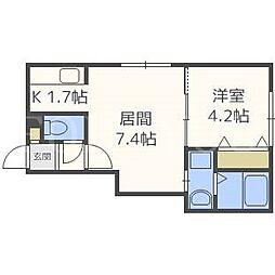 北海道札幌市白石区栄通21丁目の賃貸アパートの間取り