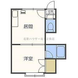 北海道札幌市北区北二十四条西2丁目の賃貸アパートの間取り