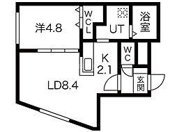 ALPHA南円山 1階1LDKの間取り