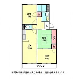 愛知県一宮市馬見塚字東見六の賃貸マンションの間取り