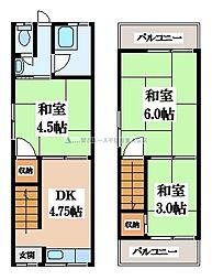 [テラスハウス] 大阪府大東市灰塚6丁目 の賃貸【大阪府 / 大東市】の間取り
