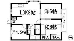 兵庫県宝塚市伊孑志3丁目の賃貸アパートの間取り