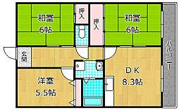 ハイコーポ京阪[4階]の間取り