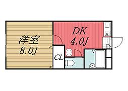 京成本線 公津の杜駅 徒歩27分の賃貸アパート 2階1DKの間取り