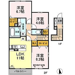 D-room下香貫[2階]の間取り