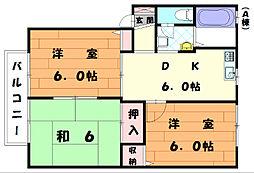 福岡県宗像市陵厳寺3丁目の賃貸アパートの間取り