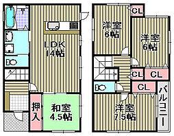 [一戸建] 大阪府貝塚市王子 の賃貸【/】の間取り
