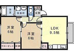南海高野線 萩原天神駅 徒歩5分の賃貸アパート 2階2DKの間取り