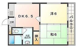 ラフォーレ高瀬 4階2DKの間取り