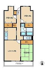 ベルテ松戸[3階]の間取り
