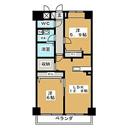愛知県名古屋市東区黒門町の賃貸マンションの間取り
