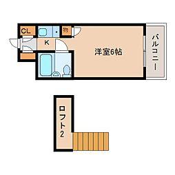 奈良県奈良市富雄元町の賃貸アパートの間取り