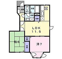 福岡県北九州市小倉南区南方5丁目の賃貸アパートの間取り